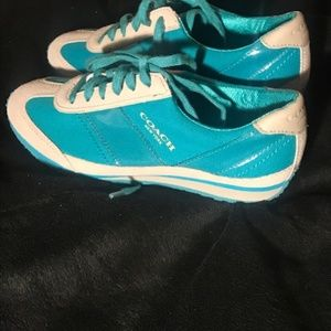 Coach teal sneakers, size 5